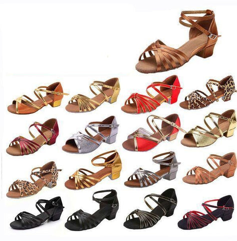 Ballroom Salsa tango latin dance shoes low heels dancing for kids girls children  women ladies