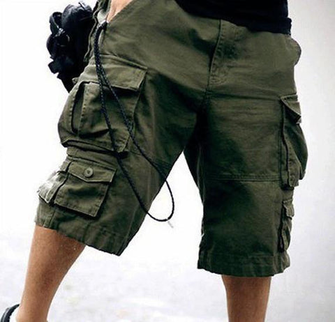 Free Belt  Mens Cargo Shorts Multi-pocket Solid Men Short Pants