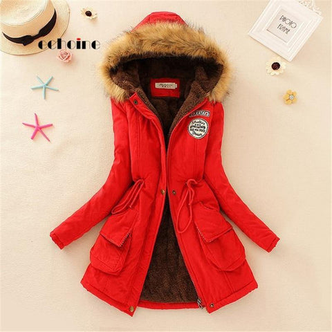Faux Fur Coats Women Long Sleeve Hooded Neck Zipper Button Plus Size Casual Outwear Warm Down Jacket Thick Parkas