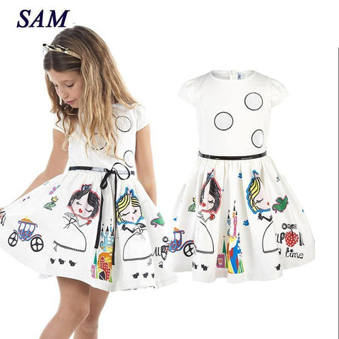 Dress Kids Clothes Baby Girl Dress with Sashes Robe Fille Character Princess Dress Children Clothing
