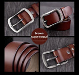 COWATHER 100% cowhide genuine leather belts for men brand Strap male pin buckle fancy vintage jeans cintos XF001
