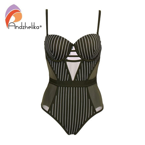 Andzhelika Stripe One-piece Swimsuit  Mesh Swimwear Backless Bodysuits Summer Beach Bathing Suit Monokini