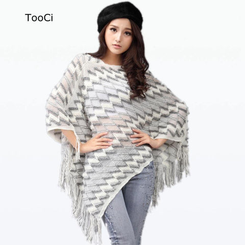 New Spring Autumn Winter Women Sweater Ladies  Tassels Poncho Long Knitted Pullovers Knitted Cape Coat