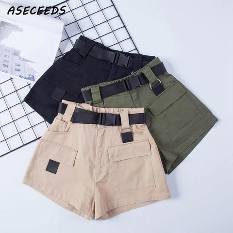 Elastic high waist shorts for women black summer belt shorts vintage sexy cotton biker pocket shorts