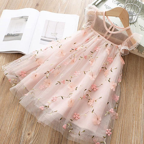 Cute Girls Dress  Summer Girls Clothes Flower Princess Dress Children Summer Clothes Baby Girls Dress Casual Wear