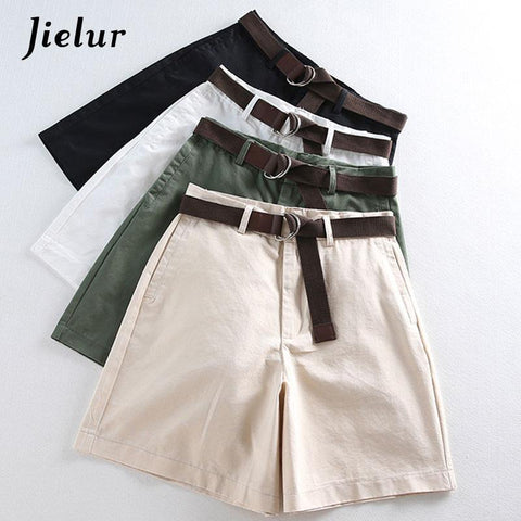 All-match 4 Solid Color Sashes Casual Women Shorts A-line High Waist Slim Summer Shorts Feminino Chic S-XXL