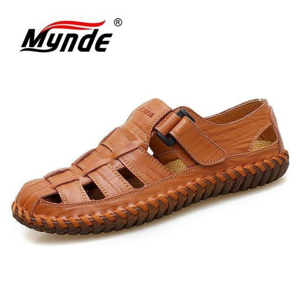 Cow Leather Sandals Outdoor  Summer Handmade Men Shoes Men Breathable Casual Shoes Footwear Walking Sandals