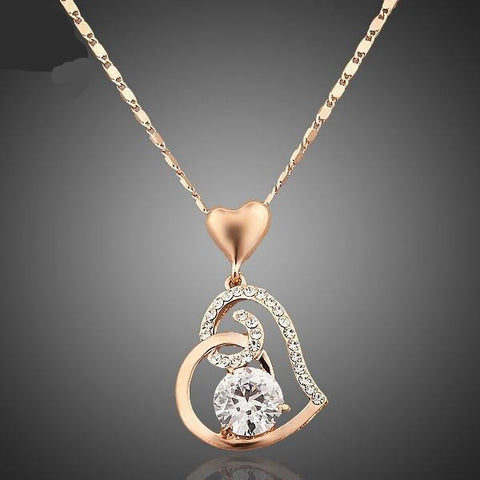 AZORA Rose Gold Plated Stellux Crystals Heart Pendant Necklace for Valentine's Day Gift of Love TN0009