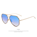 MERRYSTORE Fashion Women Sunglasses Classic Brand Designer Twin-Beams Coating Mirror Flat Panel Lens Summer Shades UV400