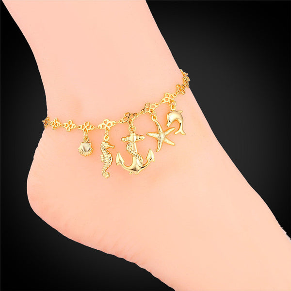 Foot Jewelry Gold Anklet For Women  Summer Jewelry Ocean Cute Platinum / 18K Real Gold Plated Ankle Bracelet On A Leg A939