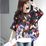 Summer Novelty Ladies Floral Print Casual Chiffon Mini Dress Women Batwing Sleeve Bohemian Dresses Plus Size 4XL 5XL 6XL