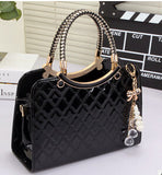Brand bag cute tote  New Fashion Designer Large PU Leather Tote Shoulder Bag Handbag Ladies Messenger chain plaid  A60-375
