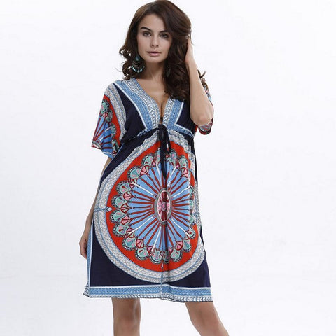 Bohemian Summer Style Women Short Sleeve Deep V Neck Casual Fashion Print Mini Sexy Beach Dresses Plus Size M-XXL