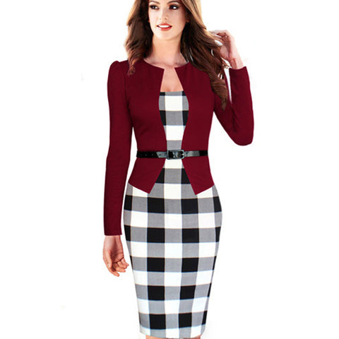 Office Wear Dress Women To Work Dress Belt Vintage Plaid Long Sleeve Autumn Winter Dress Bodycon Pencil B237