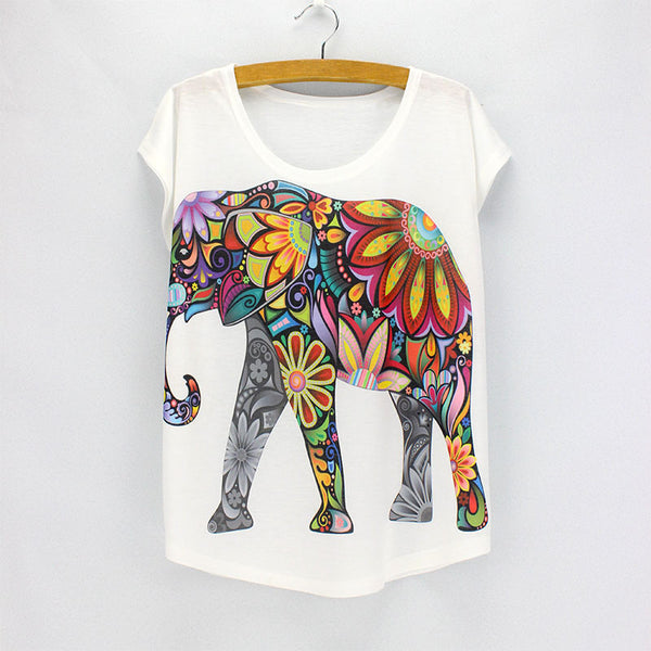 New fashion Flower Elephant printed t shirts women summer dresses  novelty design casual top tees for girls