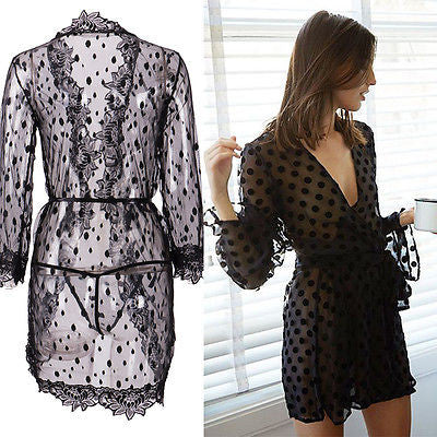 Women Sexy Summer Casual Lace Beach Mini Dress V Neck Long Sleeve Chiffon Beach Cover Up SwimWear Fashion Bathing Suit Tops