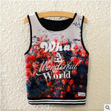 BLACK Brand  Summer Style Women Tops Casual Coconut Tree Print Harajuku T Shirt Womens Sleeveless Sexy Short Crop Top