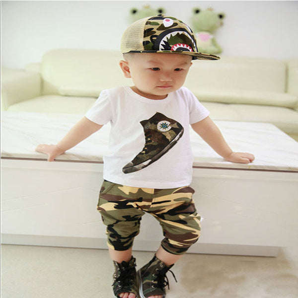 New style summer baby boys girls clothes t-shirt + pants cotton suit children set Kids clothing bebe next infant clothing