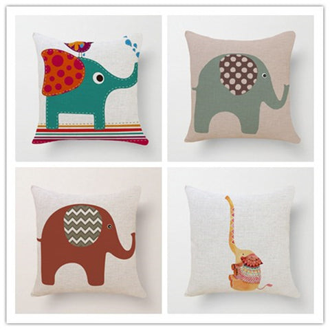 Animal Style Fashion Decorative Cushions Adorable Elephant Printed Throw Pillows Car Home Decor Cushion Decor Cojines