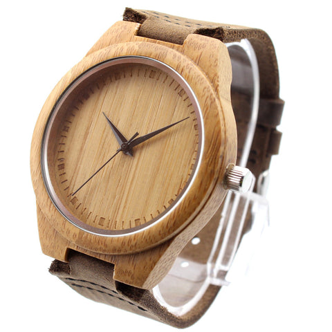 japanese miyota 2035 movement wristwatches genuine leather bamboo wooden watches for men and women christmas gifts
