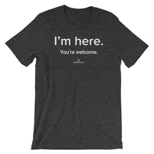 Load image into Gallery viewer, I'm Here Bella + Canvas 3001 Unisex Short Sleeve Jersey T-Shirt with Tear Away Label