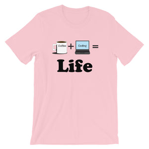 Coffee + Coding = Life Bella + Canvas 3001 Unisex Short Sleeve Jersey T-Shirt with Tear Away Label
