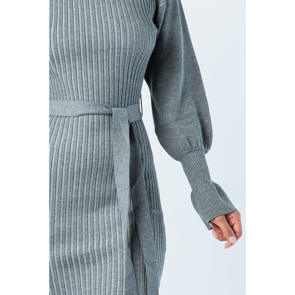 Turtle Neck Sweater Dress - Heather Grey