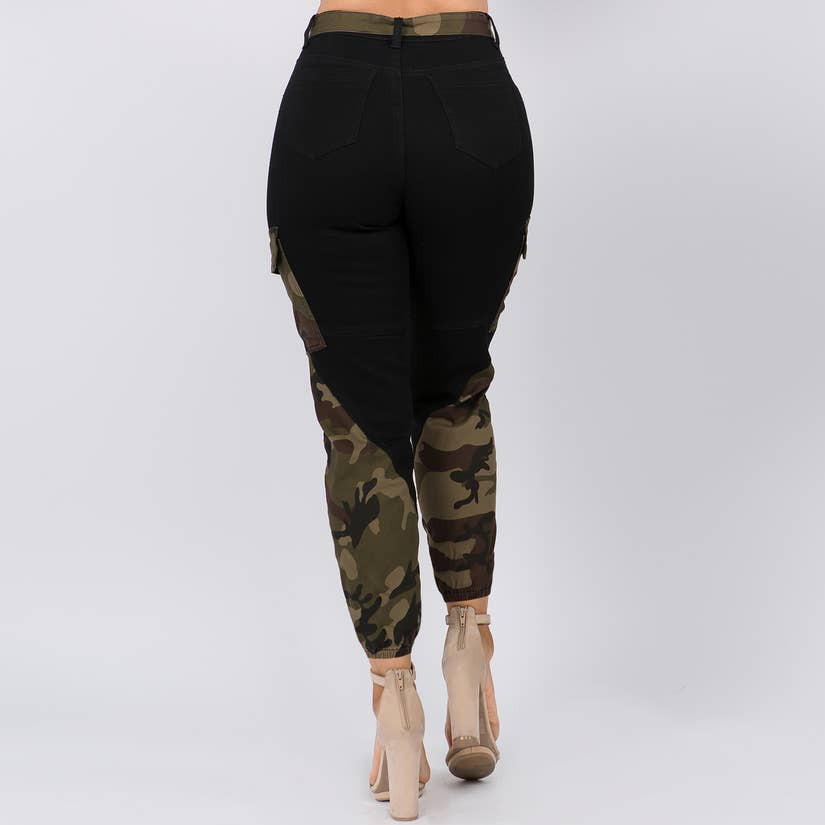 High Waist Color Block Joggers