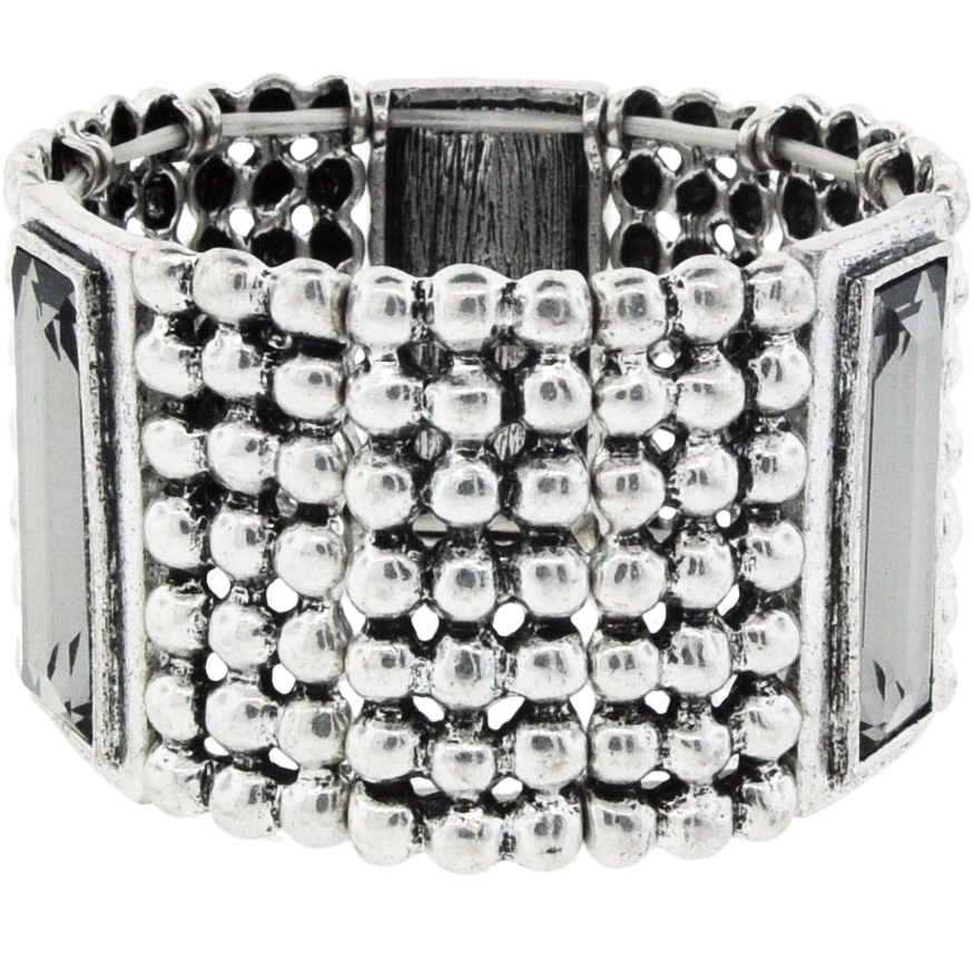 Silver Bracelet with Black Rectangular Stones