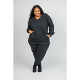 Oversized V-Neck Sweatshirt Set - Plus