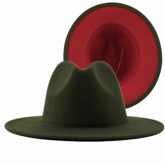 Two Tone Fedora - Olive/Red