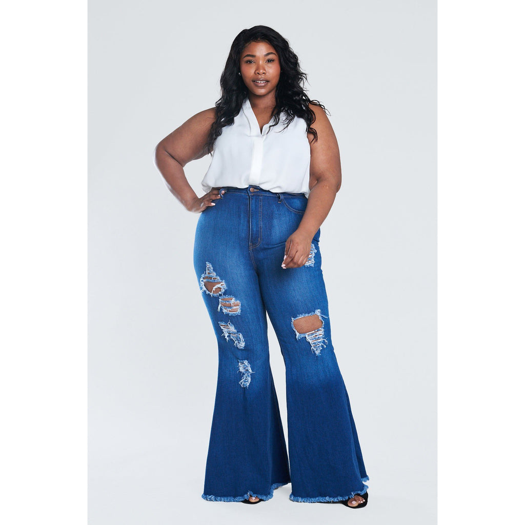 Distressed Bell Bottom Jeans - Plus