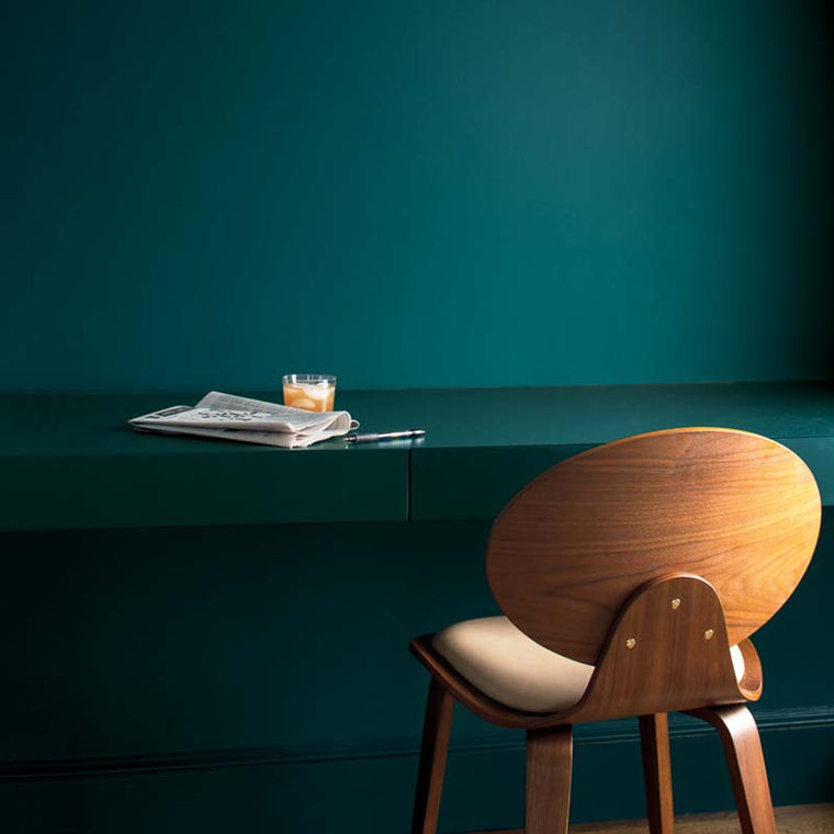 Benjamin Moore 2054-20 Beau Green; Color Trends 2019 in an office.