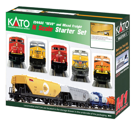 Kato 1060022 N Canadian Pacific GE ES44AC GEVO Mixed Freight Starter Set