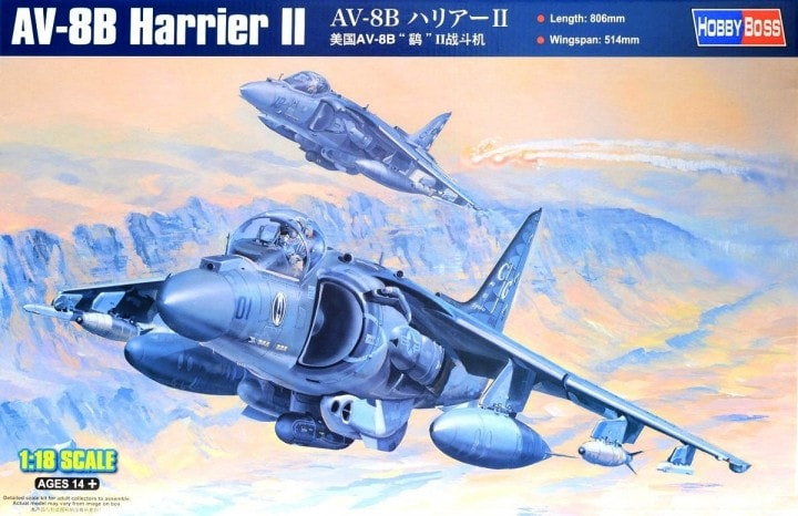Hobby Boss Models 81804 1:18 AV-8B Harrier II Aircraft Plastic Model Kit