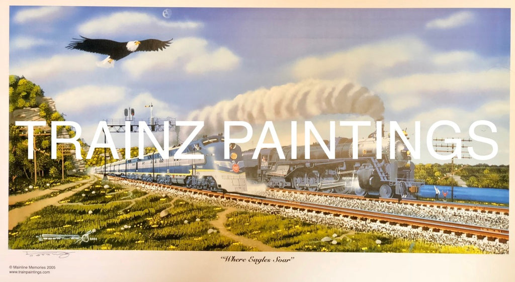 Robert West 233 Missouri Pacific 'Where Eagles Soar' Railroad Art Print - Signed