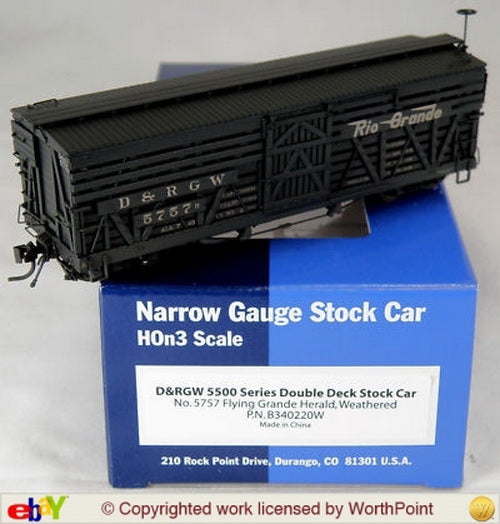 Blackstone Models 340220W HOn3 Denver & Rio Grande Western 5500-Series 30' Stock Car #5757 - Wthrd