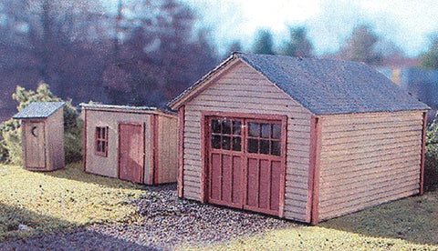 Garden Shed, 1-Stall Garage & Outhouse - Laser-Art Building kit