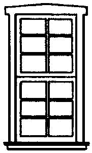 Campbell Scale Models 907 HO Tall Double-Hung 6-Pane Windows (White Plastic) (4)