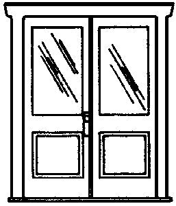 Campbell Scale Models 914 HO Double 1-Light 1-Panel Doors (White Plastic) (2)