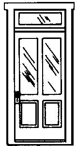 Campbell Scale Models 917 HO 2-Panel 2-Light with Transom Doors (Pack of 2)