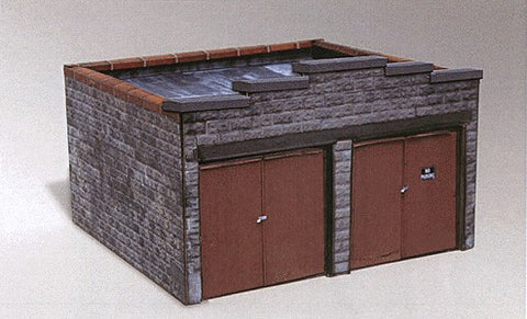 Clever Models 1002 N 2 Bay Stone Block Garage Paper Kit
