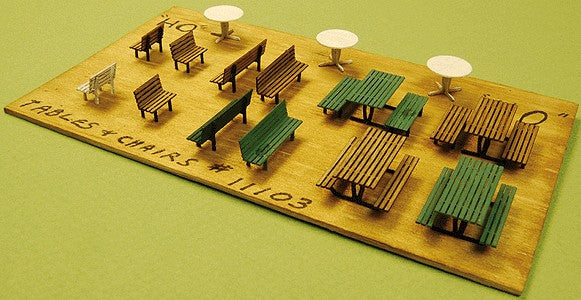 GCLaser 11103 Picnic Tables, Round Tables, & Chairs - Kit (Laser-Cut Wood)