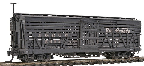 Blackstone Models 340212W HOn3 Denver & Rio Grande Western 5500-Series 30' Stock Car #5687 - Wthrd