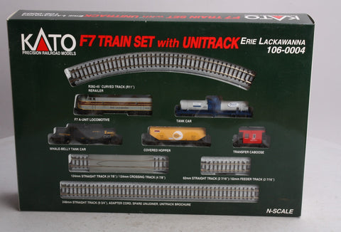 Kato 106-0004 N Scale Erie Lackawanna F-7 Train Set w/Unitack