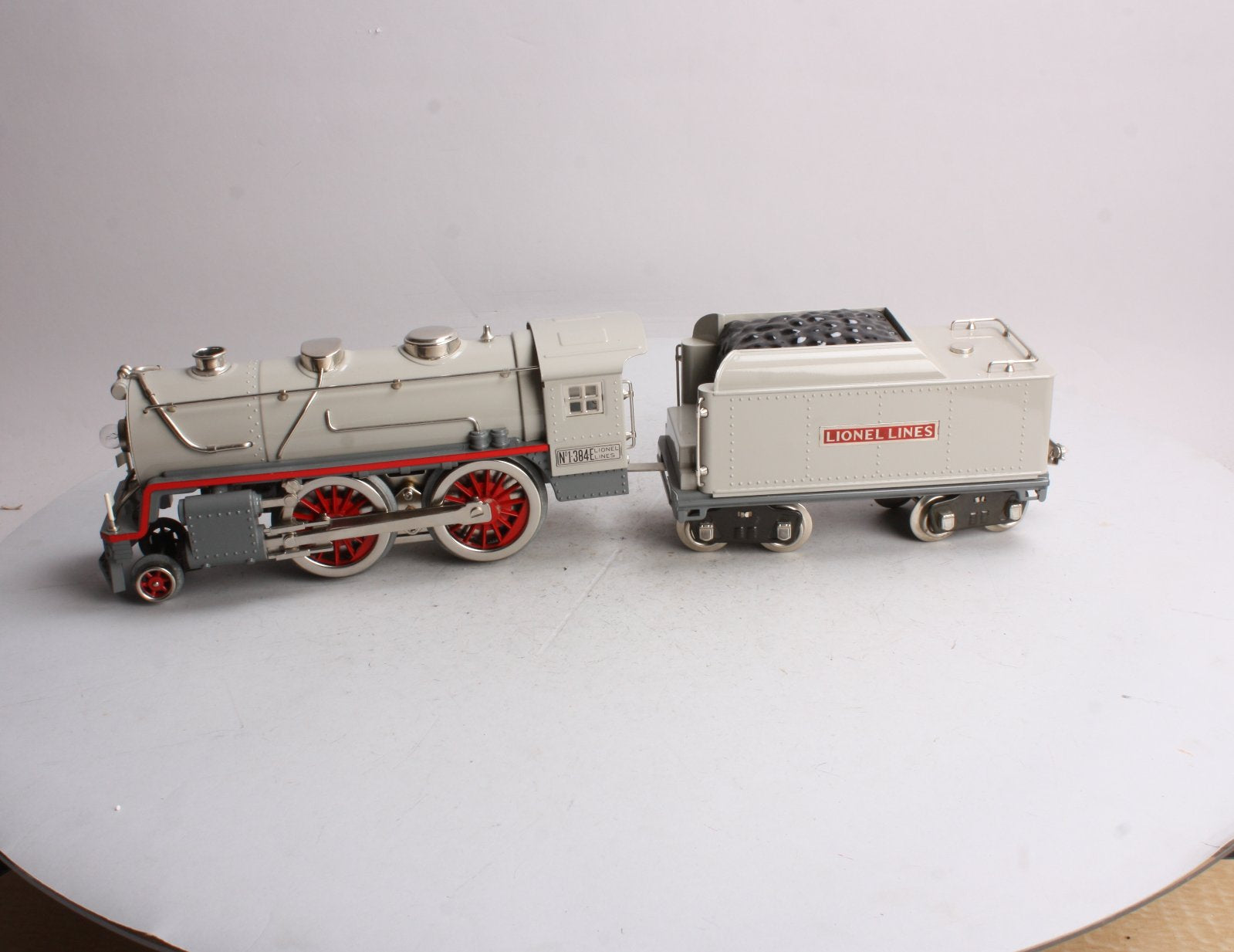 MTH 384E Standard Gauge Steam Engine and Tender (Grey and