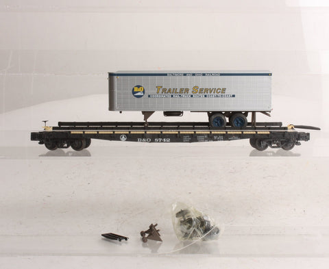 American Models 00301-4 S Scale TOFC Baltimore & Ohio Flatcar with Trailer Load
