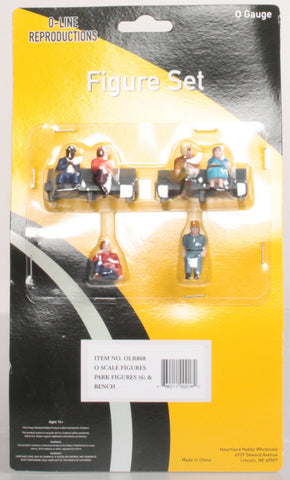O-Line 808 Park Benches & Sitting Figures Set (Set of 6)