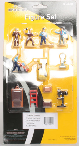 O-Line 809 Freight Station Accessories & Figures Set (10)