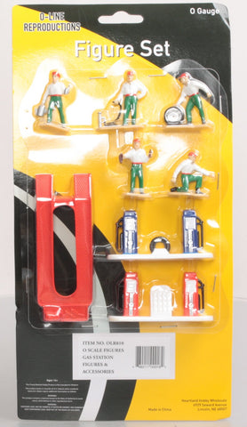 O-Line 810 Gas Station Pumps, Auto Lift, & Figures Accessory Set (Set of 8)